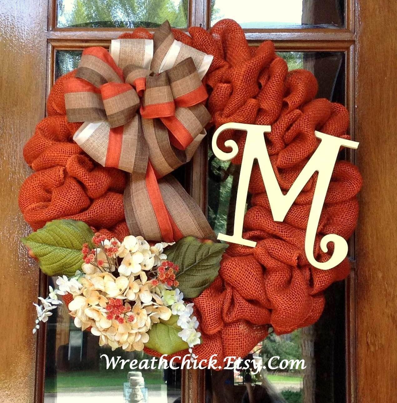Fall Wreath Burlap Fall Wreath Front Door Wreath Halloween