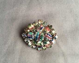 Confetti multi-colored rhinestone vintage brooch