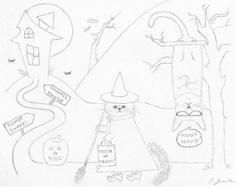 Halloween Cat Coloring Page, Downloadable PDF, Halloween Party Activity, Printable Whimsical Cat Art, Trick Or Treat Pencil Drawing