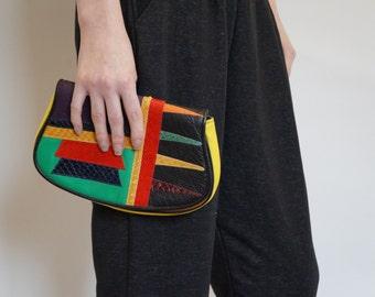 Vintage CARLOS FALCHI Tribal Colorblock Clutch Bag - Designer