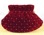 SALE Retro/Vintage 1980s - 80s - small red velvet and gold ball evening bag - clutch or crossbody