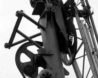Gear Wall Art / Gear Art - Minimal Art / Minimal Print - Black and White Framed Photograph / Canvas