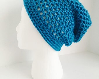 Crochet Slouchy Mesh Hat | Blue | iHat v3.0