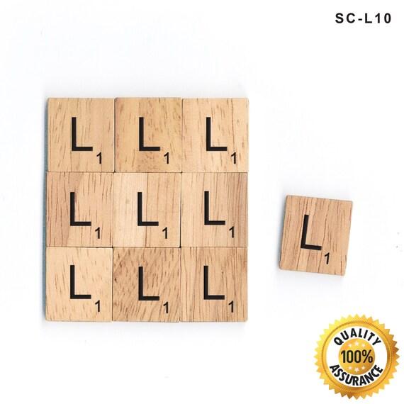 10 L Letter Set Wooden Scrabble Tiles Black Lettering By