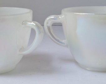 Vintage Federal Glass Iridescent Moonglow Sugar Bowl and Creamer Set