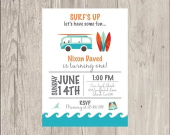 Surf beach themed birthday invitations