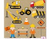 Digital Construction clipart. Dump truck, Cement truck, Bulldoser and Crane.Great for scrapbooks, invitations, party decor. Instant Download