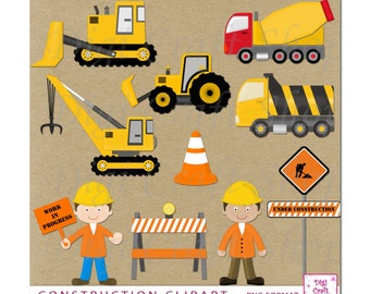 Digital Construction clipart. Dump truck, Cement truck, Bulldoser and Crane.Great for birthday invitations, party decor. Instant Download