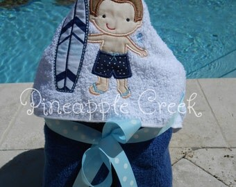 Surfer Boy Hooded Towel MONOGRAM INCLUDED