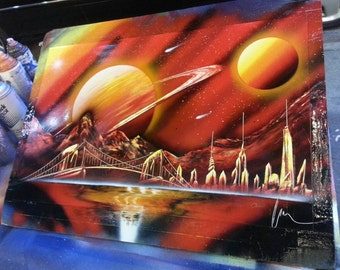 MARTE - Spray Paint Art - (14 in x 22 in) Space Painting