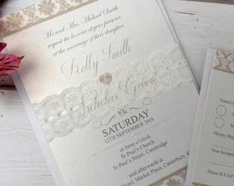 Personalised Vintage Lace Wedding Invitations With RSVP Card & Envelopes