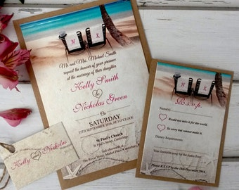 Beach Themed Wedding Invitations Personalised With Twine, RSVP Card, Tag & Brown Kraft Envelopes, Free Draft Available