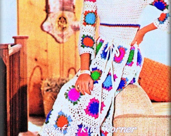 Crochet Vintage-Inspired 1970s Granny Squares and Stripes Long Sleeves Maxi Dress - Made to Order 20% Discount