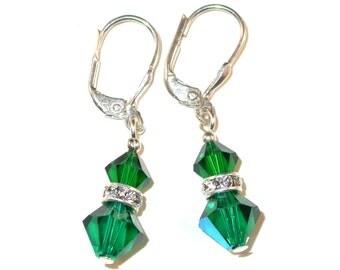Emerald GREEN Crystal Earrings Sterling Silver Dangle Swarovski Elements - Clip-on or Pierced