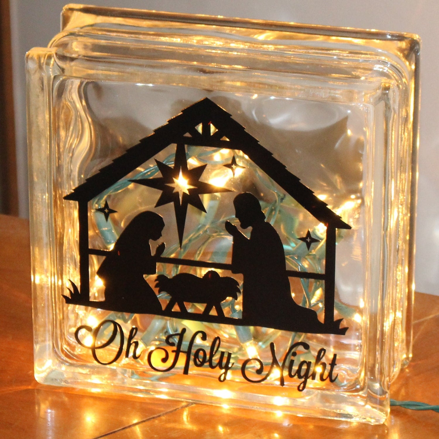 String Lights For Glass Blocks : Glass Block Decoration Nativity Scene with lights by fsgifts