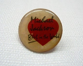 Vintage Early 1980s Michael Jackson Best In The World / Heart / Enamel Pin / Button / Badge