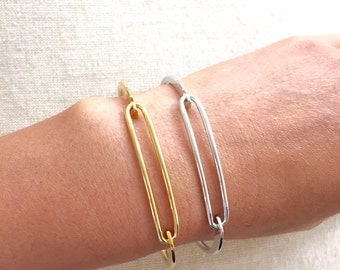 Sample Sale! Elongated Loop Accent Bracelet in Gold or Silver