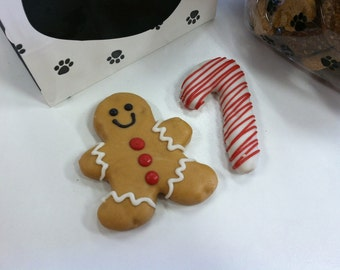 Gingerbread Man & Candy Cane Gourmet Decorated Dog Treats 2-Pack