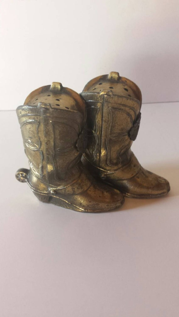 Brass Cowboy Boot Salt And Pepper Shakers Front By Highway98