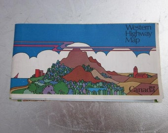 1974 Western Highway Map CANADA Trans Canada Highway Canadian British Columbia Newfoundland