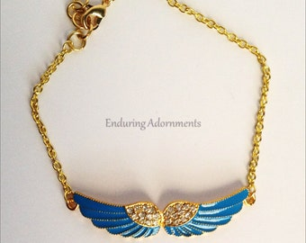"Anklet- Gold with Blue Wings and ""Diamonds"""