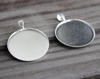 40 Fit 25mm Cabochon Blanks. Silver Plated Brass Bezel Setting,Cabochon Tray,Pendant Blanks Supply