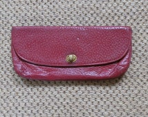 Vintage 1950's Maroon / Deep Red Textured Leather Clutch Bag