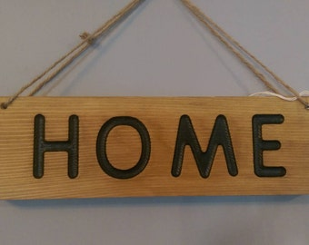 Red cedar wood 'Home' wall hanging sign/plaque