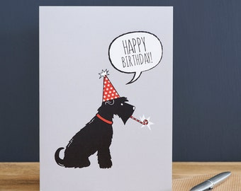 Schnauzer birthday card (grey or black dog)