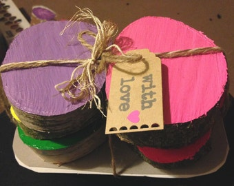 Fun and Colourful Painted Wooden Log Coasters