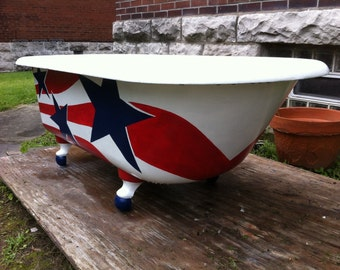 Antique Clawfoot tub 5' Original Vintage Bathtub Event Drink Station American Flag Re-imagined 1921