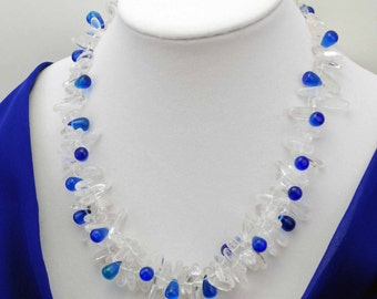 Handcrafted blue clear stone necklace