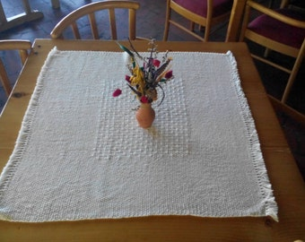 White cotton handwoven table runner made to order rustic cottage farmhouse decor table runner country decor woven table linen house kitchen