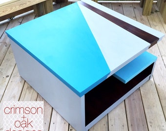 SOLD - Color-Blocked Custom Painted Modern Coffee Table