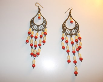 Red and rustic chandelier earrings