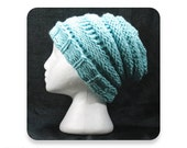 Knit Hat, Sage Green Beehive Knit Winter Hat, Men's Knit Hat, Women's Knit Hat, Knitted Hat, Mens Hat, Womens Hat, (KH1)