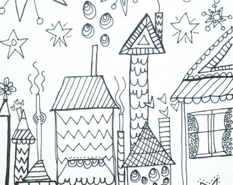 Whimsical Houses Black and White Coloring Page Download
