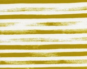 Cotton + Steel Zephyr Fabric, Gust Stripes in Citron Yellow, Rashida Coleman-Hale for Cotton and Steel