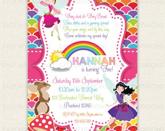 Fairy Birthday Invitation Rainbow Printable Digital