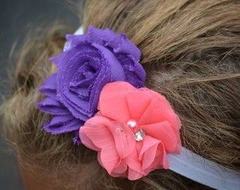 Purple & Coral Girl's Headband - Purple and Coral Theme - Cake Smash Prop - Pageant Headband - Newborn Headband - Purple Headband