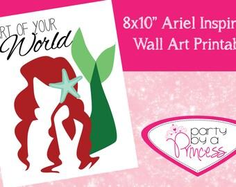 "Disney Princess Ariel Little Mermaid Wall Art Quote Printable 8x10"""