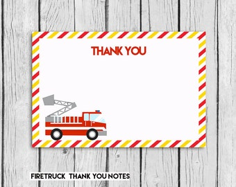 Firefighter Thank you Card 4x6 ,Fire Truck Instant  DOWNLOAD, Thank you Note,Fire Truck  Birthday Party,PRINTABLE PDF