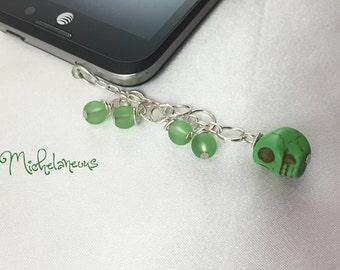 Green, Skull, Stone, Phone, Charm, Plug, Cell Phone, Dust Plug, Phone Charm, Cell Phone Accessories, Cell Phone Charm, Green Skull Charm
