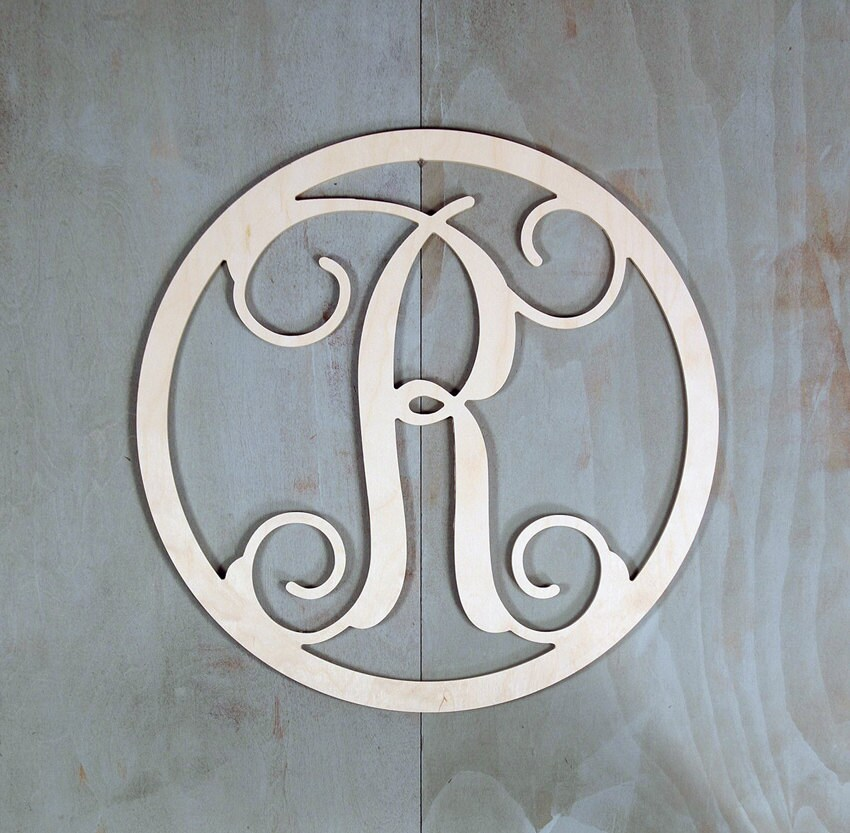 wooden monogram letters unfinished wooden monogram single letter initial circle 1725