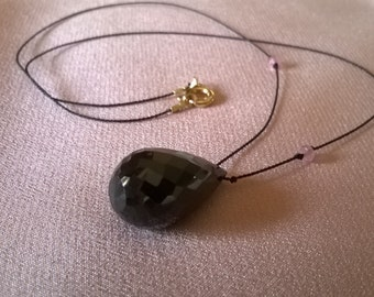 Briolette necklace of black spinel