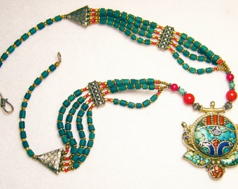 Sterling Silver Tibetan Turquoise and Coral Pendant and bead Necklace w/ Brass Accents