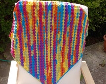 Baby blanket Hand crochet baby blanket multi coloured afghan rainbow blanket lap blanket pram blanket wheelchair blanket
