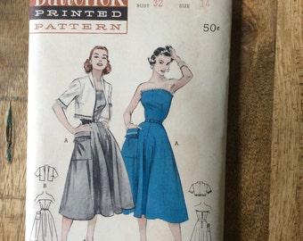 Vintage Butterick Pattern bare shoulder dress with jacket uncut size 14