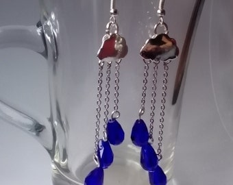Handcrafted  Cloud & Raindrops Earrings
