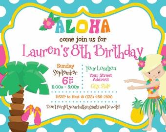 Luau / Hula / Tropical / Hawaiian Themed Birthday Printable Invitation